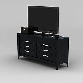 实木简约电视柜3d模型3d模型