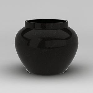 黑色陶瓷罐模型3d模型
