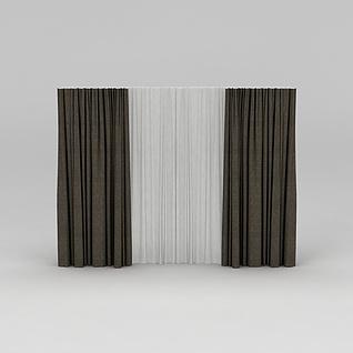 棕色双层窗帘3d模型