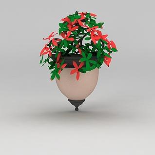 室外挂壁花盆3d模型