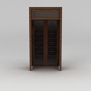 中式古典雕花木门3d模型