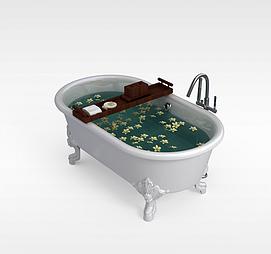 浪漫独立浴缸模型
