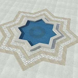 廣場噴泉模型3d模型