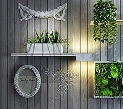 墙壁木制花架盆栽组合模型3d模型