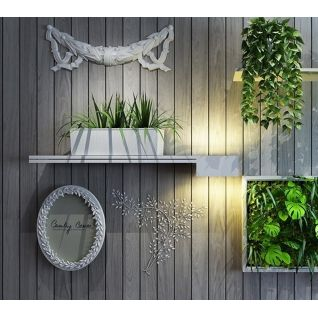 墙壁木制花架盆栽组合3d模型