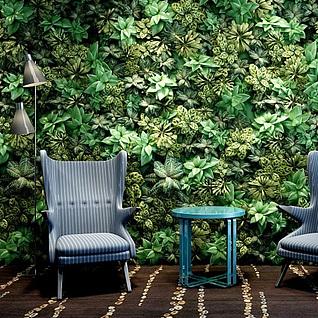 植物墙休闲椅组合3d模型