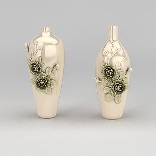 中式雕花大花瓶3d模型3d模型