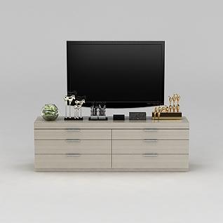 简约多抽屉电视柜3d模型3d模型