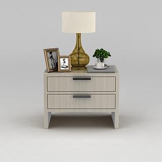 简约实木床头柜3d模型3d模型