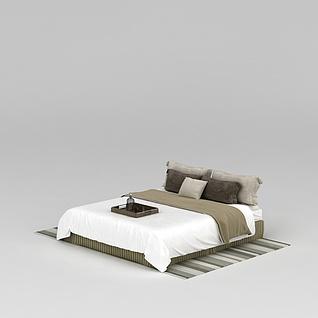 高档舒适床被寝具3d模型