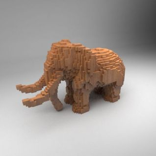 马赛克木块大象3d模型