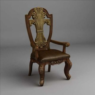 欧式扶手<font class='myIsRed'>餐椅</font>3d模型