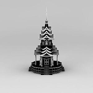 寺廟塔樓模型3d模型