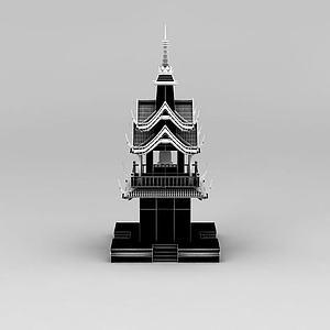 寺廟鐘樓模型3d模型