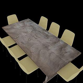 高档木制餐桌3d模型