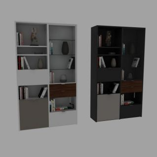 书房置物柜3d模型