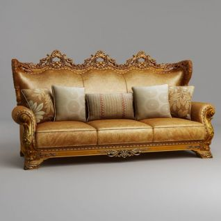 奢华欧式三人沙发3d模型