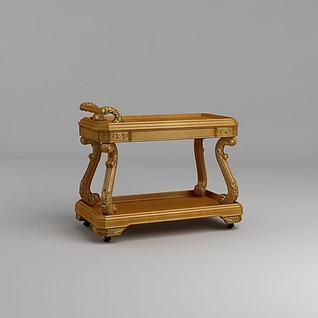 欧式实木餐车3d模型