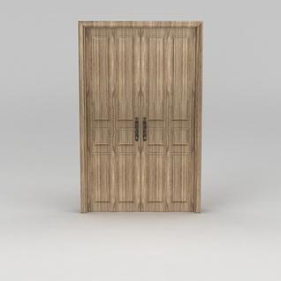 实木双开门3d模型