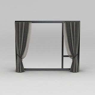 落地窗帘3d模型