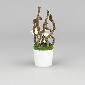 裝飾花盆綠植模型3d模型