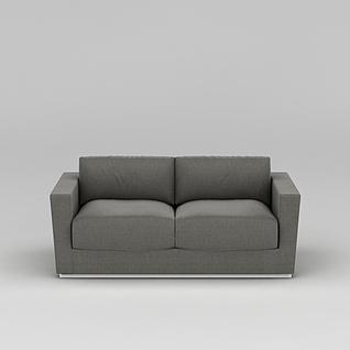 灰色布艺双人沙发3d模型3d模型