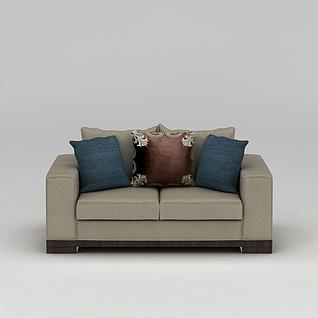 简约双人沙发3d模型3d模型