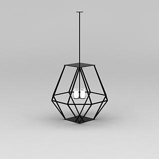 简约铁艺吊灯3d模型