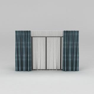 青色布艺窗帘3d模型