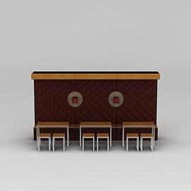 3d快餐厅<font class='myIsRed'>卡座</font>桌椅模型