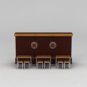 3d快餐廳<font class='myIsRed'>卡座</font>桌椅模型