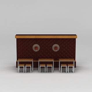 快餐厅卡座桌椅3d模型3d模型