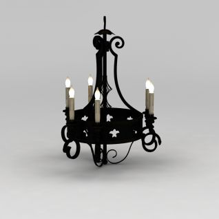 铁艺蜡烛吊灯3d模型
