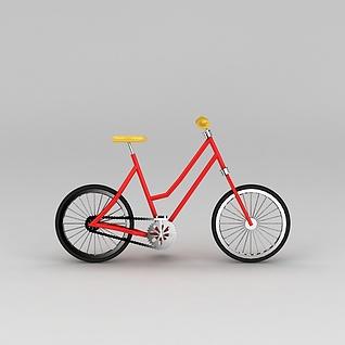 红色自行车3d模型