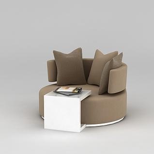 现代棕色休闲沙发3d模型3d模型