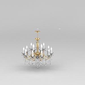 3d奢華客廳<font class='myIsRed'>水晶吊燈</font>模型