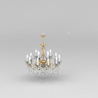奢华客厅水晶吊灯3d模型