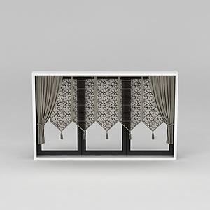 文艺复古窗帘模型