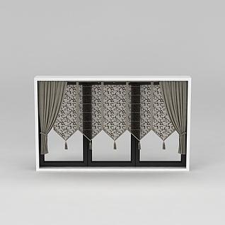文艺复古窗帘3d模型