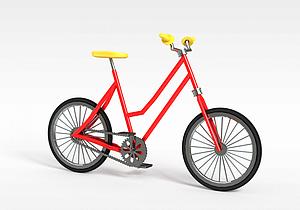 红色自行车模型3d模型