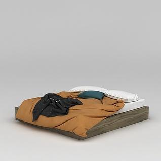 凌乱的被褥寝具3d模型