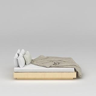 现代简约矮床床3d模型