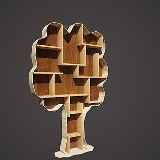 树造型书架3d模型