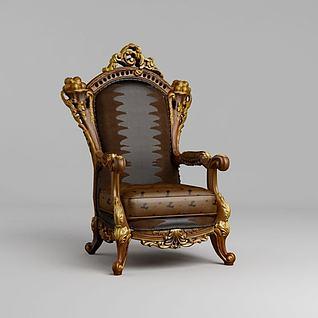 欧式贵族单人沙发3d模型