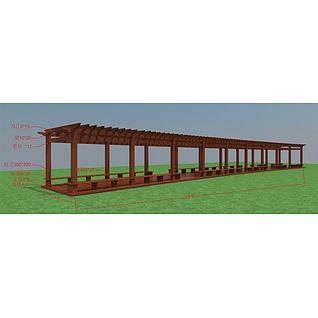 学校廊架3d模型