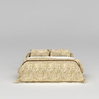高档金色被褥寝具3d模型