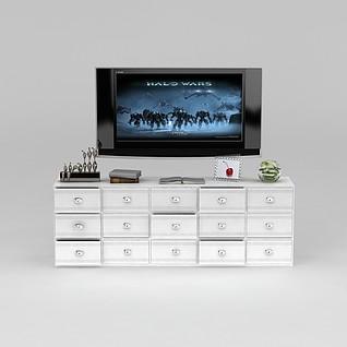 白色多抽屉电视柜3d模型3d模型