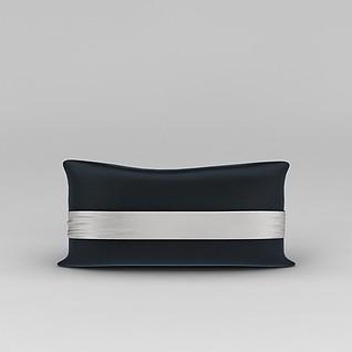高档丝绸床头靠枕3d模型