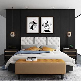 简约舒适床3d模型