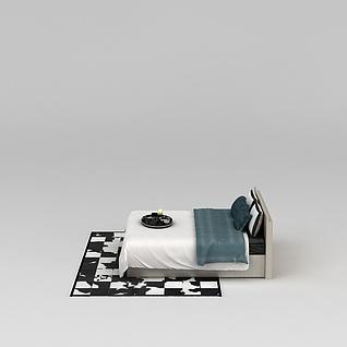 现代床3d模型